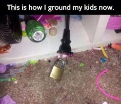 Great idea. Eliminates the need to take the item away from them and store it in a secure place until they aren't in trouble any more.: Ideas, Stuff, Funny, Kids, Room, Parenting
