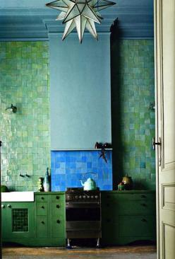 Have been inspired to decorate with blues and greens as accent colours for a while now...they just take me away to the caribbean ocean!: Kitchens, Green Tile, Interior, Idea, Color, Blue Green, Green Kitchen, Light Fixture, Design