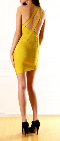 Herve Leger - love the asymmetrical straps across the back, but not so much the color: Bandage Dresses, Fashion, Color, Herve Leger, Elegant Prom Dresses, Yellow