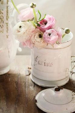 How to make something pretty out of something so simple.  I've got some of these french cannisters and a rose garden!: Rose, Ranunculus, Vintage, Shabby Chic, Flower Arrangements, Pink, Things, Flowers, Floral
