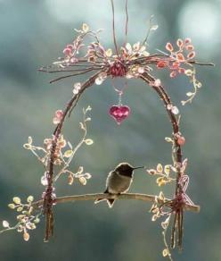 Hummingbird swing making your outdoor space a haven for these lovelies: Humming Birds, Idea, Birdhouse, Hummingbird Swing, Bird Houses, Fairy Garden, Hummingbirds, Animal