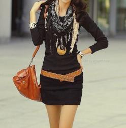 I love hip belts! And scarves!: Fashion, Style, Dream Closet, Outfit, Dresses, Belt, Scarf, Black Dress