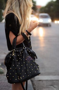 I need everything, NEED. Studded handbag + exposed zipper bracelet, not to mention that blouse.....I could go on.: Fashion, Style, Handbags, Clothes, Studded Bag, Nice, Hair, Purses