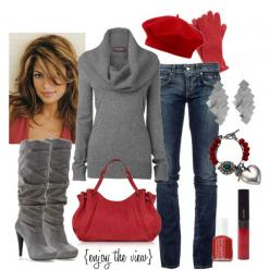 I will purchase every item in this great gray/red outfit if it will transform me into the sexy diva like Eva Mendes!: Sweater, Fashion, Red, Style, Dream Closet, Clothes, Winter Outfits, Grey, Fall Winter