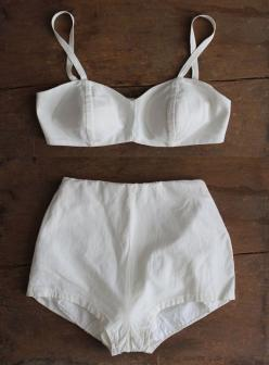 If I weren't quite so Oregon pasty. 1950s swimsuit / white 50s bikini / two piece by allencompany: Vintage Swimsuits, Bathing Suits, Lingerie, Sahara Ray, Style, 1950S, Bikinis, Swimwear, Two Piece Swimsuits