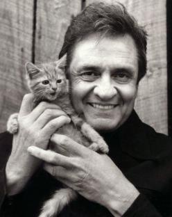 Johnny Cash and kitten: Cats, Music, Animals, Famous People, Kittens, Johnny Cash, Kitty, Johnnycash, Black