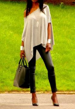 Leather pants she dose them right! with this off the shoulder butterfly sleeve top and wrist cuffs its glam and sexy: Fashion, Style, Fall Outfit, Leather Leggings, Leather Pants, Top, Shirt