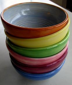 Leslie Freeman Designs, Etsy, $204: Bowls Plates, Ceramic Bowls, Ceramic Ideas, Colorful Everyday, Ceramics Stuff, Freeman Ceramics, Everyday Bowls