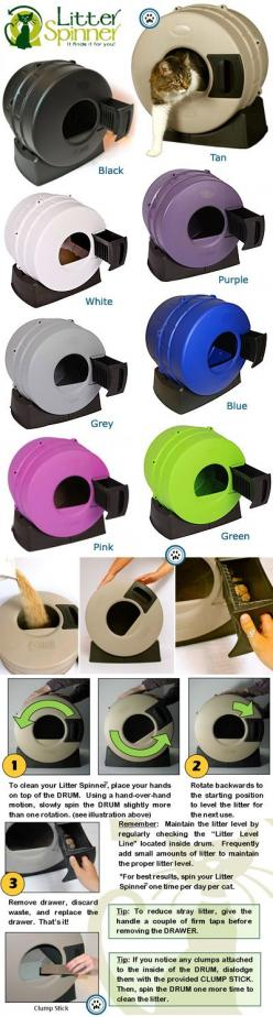 Litter Spinner Automatic Cat Litter Box: Cats Litter, Cat Litter Boxes Ideas, Kitty Litter Box, Cat Litter Box Ideas, Cat Litterbox Ideas, Automatic Cat Litter Box