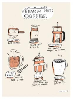 MIKE!  your illustration popped up on Pinterest!  mikelowerystudio:  how to make french press coffee.: Mike Lowery, Cup, Press Coffee, French Press, Food, Art, Illustration