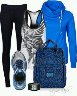 More workout outfit - http://dailyshoppingcart.com/trainingequipment: Fitness Fashion, Style, Blue, Workout Gear, Fitness Gear, Workout Outfits, Workout Clothes, New Years
