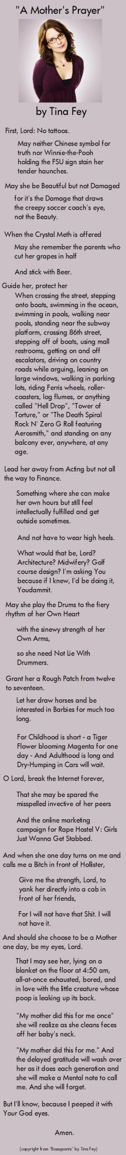one of my favorite prayers, Lord help me.: Tinafey, Girl, Quote, A Mothers Prayer, Daughter, Tina Fey S, So Funny