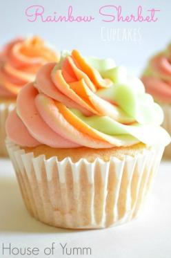 Rainbow Sherbet Cupcakes. Made with real rainbow sherbet!! Tastes like the real thing! Made by House of Yumm: Cuppycake, Sweet, Cupcake Recipes, Sherbert Cupcake, Real Rainbow, Rainbowsherbet, Sherbet Cupcakes, Cup Cake, Rainbow Sherbet