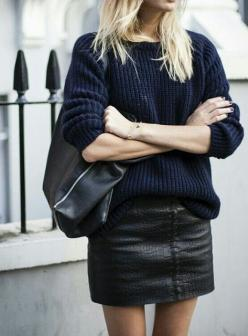 silky button down, loosely knit or chunky sweater with pencil pants or skirts - in my colors: Leather Skirts, Street Style, Outfit, Fall Winter