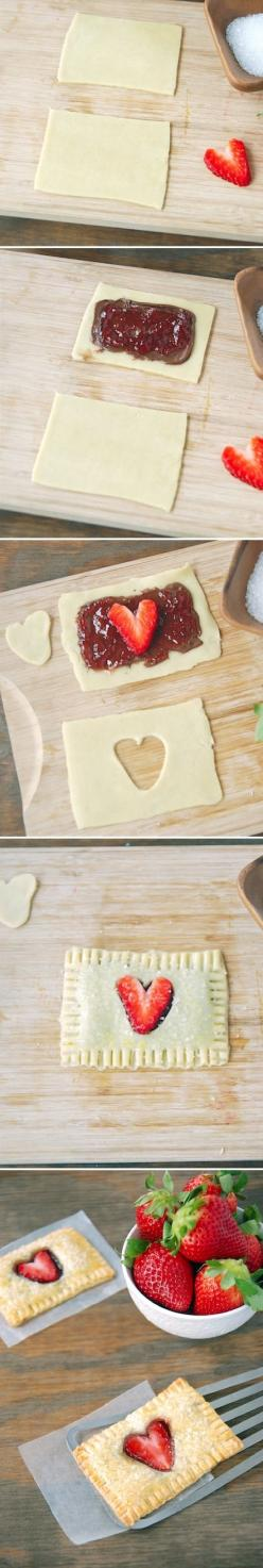 Strawberry Heart Pop Tarts (with Nutella!) would be so cute for valentines day! - Please consider enjoying some flavorful Peruvian Chocolate. Organic and fair trade certified, it's made where the cacao is grown providing fair paying wages to women. Va