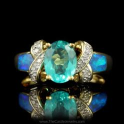 Stunning Rare Paraiba Tourmaline with Opal Inlay & Diamond Accents in – The Castle Jewelry: 14K Yellow, Yellow Gold, Diamonds, Adornment, Beautiful Opals, Opulent Opals