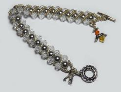 Swarovski Grey Pearl and Crystal Charm Bracelet: Beaded Projects, Charm Bracelets, Beading Inspirations, Beaded Bracelets, Bead Jewelry, A Beads Beads, Beaded Jewelry