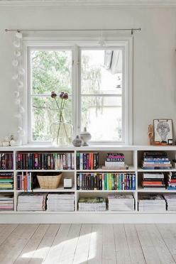 Take Advantage of Under the Window Space | Space-Savers for Small Spaces: Window Storage, Interior, Low Bookshelves, Living Room, Book Shelves, Space, Low Bookshelf