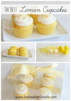 The Best Lemon Cupcakes: Using lemon box mix, small vanilla instant pudding and lemon juice and zest: Simple Cupcake Recipe, Best Cupcake Recipe, Cupcake Recipes, Lemon Cake Recipe, Cake Mix Cupcake, Lemon Cake Mix Recipe, Lemon Cupcakes