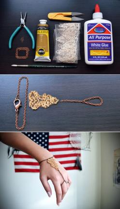 The Gold Lace Slave Bracelet | 46 Ideas For DIY Jewelry You'll Actually Want To Wear: 46 Ideas, Craft, Jewelry Making, Diy Hand Chain, Lace Slave, Gold Lace, Diy Jewelry, Slave Bracelet, Diy Bracelet