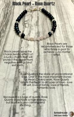 The organically shaped Black Pearls + Faceted Rose Quartz are delicately strung on a silver wire. The inherent intentions of the lucky Black Pearl and the manifesting power of true love with the Rose Quartz make this a perfect combination.  LUCKY IN LOVE: