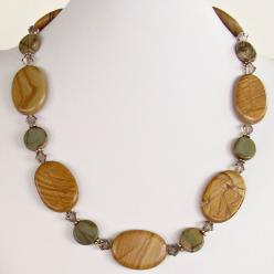 "This 22.5"" gemstone bead necklace featuring oversized sand and gray colored jasper stones is tasteful and elegant. Buy it from our online shop today.: Moon Design, Artisan Necklaces, Jewelry Designs, 22 5, Crafty Jewelry, Beads, Bead Necklaces"
