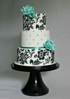 This is a perfect cake for a sweet sixteen but instead of blue pastel pink!: Tiffany Cake, Black And White Birthday Cake, Pretty Cake, Classy Birthday Cake, Wedding Cakes, Black And White Cake, Beautiful Cakes, Elegant Cake, Sweet 16 Birthday Cake