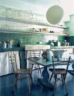 This is such a peaceful looking room.  seaglass kitchen: Spaces, Beautiful Kitchens, Interiors Kitchens, Texture, Tile, Holy Kitchens, Room, Dining Kitchens