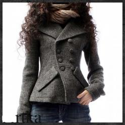 This stylish peacoat is a great feminin update from the usual.  I love that it fits the contours of the body and the A-semetrical placement of the buttons gives it an edgy feel.  LOVE the chunky scarf too, what a great way to finish off the look: Grey Coa