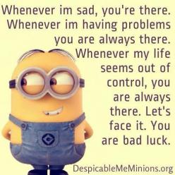 Top 30 Best Funny Minions Quotes and Pictures | Quotes and Humor: Funny Best Friend Quote, Funny Best Friend Picture, Minion Quotes, Minions Quotes, Minion Best Friend, Funny Quotes, Funny Minions, Bad Luck