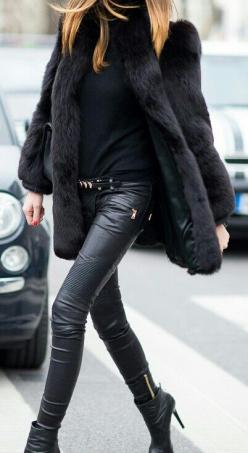 total black - Fashion Jot- Latest Trends of Fashion: Faux Fur, Fur Coats, Fashion, All Black, Street Style, Outfit, Leather Pants, Fall Winter