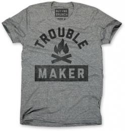Toublemaker Tee Grey – Buy Me Brunch: Cats, T Shirt, Tshirts, Casual Menswear, Design Tees, Buy Me Brunch Shirt, Closet, Brunch Ahoy