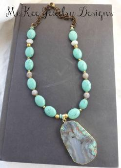 Turquoise Agate Druzy with Gold Plating gemstone and gold necklace. McKee Jewelry Designs, Andria McKee, handmade jewelry, artisan, jewellery, boho, bohemian: Gemstones, Jewelry Design, Agates, Gold Necklaces, Plating Gemstone
