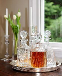Use those crystal decanters you received for your wedding, put them on a silver tray and set on a rustic farmhouse table for a bit of sparkle!: Silver Trays, Bar Carts, Liquor Cabinet, Crystal Decanter, Liquor Tray, Whisky Decanter