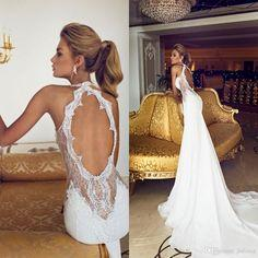 Wholesale Mermaid Wedding Dresses - Buy Charming 2015 Open Back Vintage Lace Wedding Dresses Sweetheart Applique Beads Chiffon Sexy Sheer Court Train Mermaid Bridal Gown Dress, $168.59 | DHgate