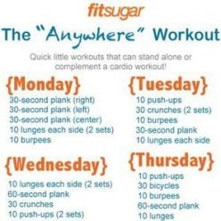 Workout Poster For the Week - perhaps good ideas for days you don't go to the gym?: Workoutplan, Health Workout, Work Outs, Daily Workout, Exercise, Fitness Workout, Weekly Workouts, Quick Workout