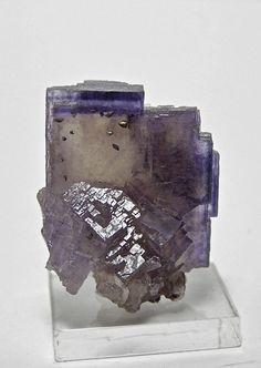 Yellow Purple Zoned Fluorite Etched Crystal by FenderMinerals, $55.00