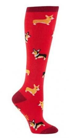 """Corgi"" is Welsh for ""dwarf dog.""  Red knee high socks with cute yellow corgis.  Fits women's shoe size 5-10.: Welsh Corgi, Corgi Disorder, Animal Socks, Yellow Corgis, Corgi Dog, Knee Highs, Corgis ️ ️ ️, Knee High Socks, Corgi Knee"