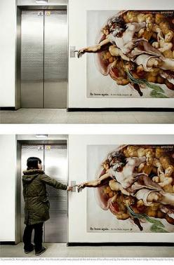 """Here, let me get that for you. Tips are not expected, but are greatly appreciated."" God, the Lift Boy.: Ideas, Elevator, Stuff, Creative, Art, Advertising, Funny, Things, Design"