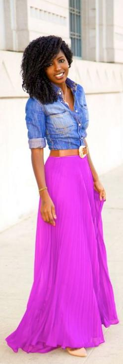 A bright skirt and denim shirt This is beautiful.: Dress, Outfit, Denim Shirts, Long Skirts, Casual Looks, Style Pantry, Bright Skirts, Maxi Skirts