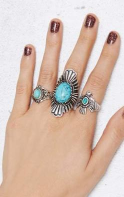 Aiden Ring Set. pb: Rings Accessories, Rings I, Turquoise Rings, Ring Ideas, Aiden Ring, Rings Boho