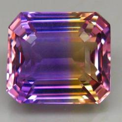 Ametrine / Trystine or (trade name)  Bolivianite - naturally occurring variety of quartz. A mixture of amethyst and citrine with zones of purple and yellow or orange. Almost all commercially available ametrine is mined in Bolivia, although there are depos