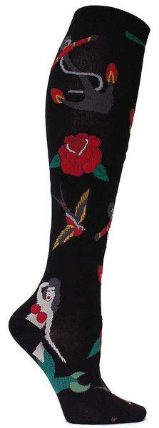 Black knee high socks with classic tattoo images.  Fits women's shoe size 5-10.: Classic Tattoo, Tattoo Knee, Knee Socks, Knee Highs, Knee High Socks, Products, Wod Socks, Black Knees