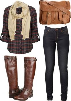 Boots and scarves just scream Fall!: Falloutfit, Style, Dream Closet, Bag, Fall Outfits, Winter Outfit, Fall Fashion, Plaid Shirts, Fall Winter