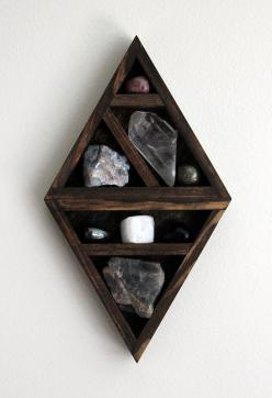 crystal and mineral stone collection in handmade geometric diamond wood curio shelf: Craft, Crystal Shelves, Crystals And Stones Decor, Rooms Ideas, Diy Crystal Shelf, Cool Ideas, Project Ideas, Rocks Gems Minerals, Crystal Furniture