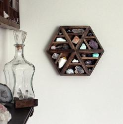 : Etsy Focus, Rock Collection, Handmade Hexagon, Stone, Wood Wall, Mineral Collection
