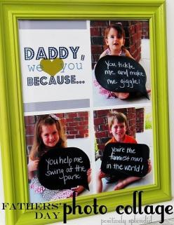 "Father's Day for kids.  Have them hold a sign that says ""Dad Rocks because..."" then make the picture a magnet or put it on a tile to make a coaster: Photo Collage, Craft, Father'S Day Gifts, Gift Ideas, Fathersday, Fathers Day, Giftidea, K"