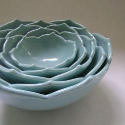 Five Ceramic Nesting Lotus Bowls in Robin Egg Blue: Beautifully sculptural and functional! Food and dishwasher safe. $210: Ceramic Bowls, Nesting Bowls, Eggs, Lotus Bowls, Robin Egg Blue, Ceramic Nesting, Ceramics, Nesting Lotus, Robins Egg