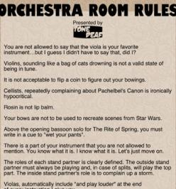 HAHA Mr. Patton NEEDS this!!!!! Love the violin and viola rules ;-) @Melina Martinez Hudak  @Julia Lanfersieck: Music Funny, Orchestra Stuff, Orchestra Band S Choir, Orchestra Rules, Orchestra Room, Cello Orchestra, Orchestraaa Music