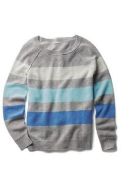 Hues of blue. Striped cashmere sweater.: Boyfriend Sweaters, Women S Fashion, Cashmere Baby, Fashion Ideas, Dream Closet, Clothes Makeup Hair Nails Etc, Cashmere Sweaters, Clothes Bags Shoes